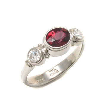Three Stone Ruby and Diamond Platinum Ring