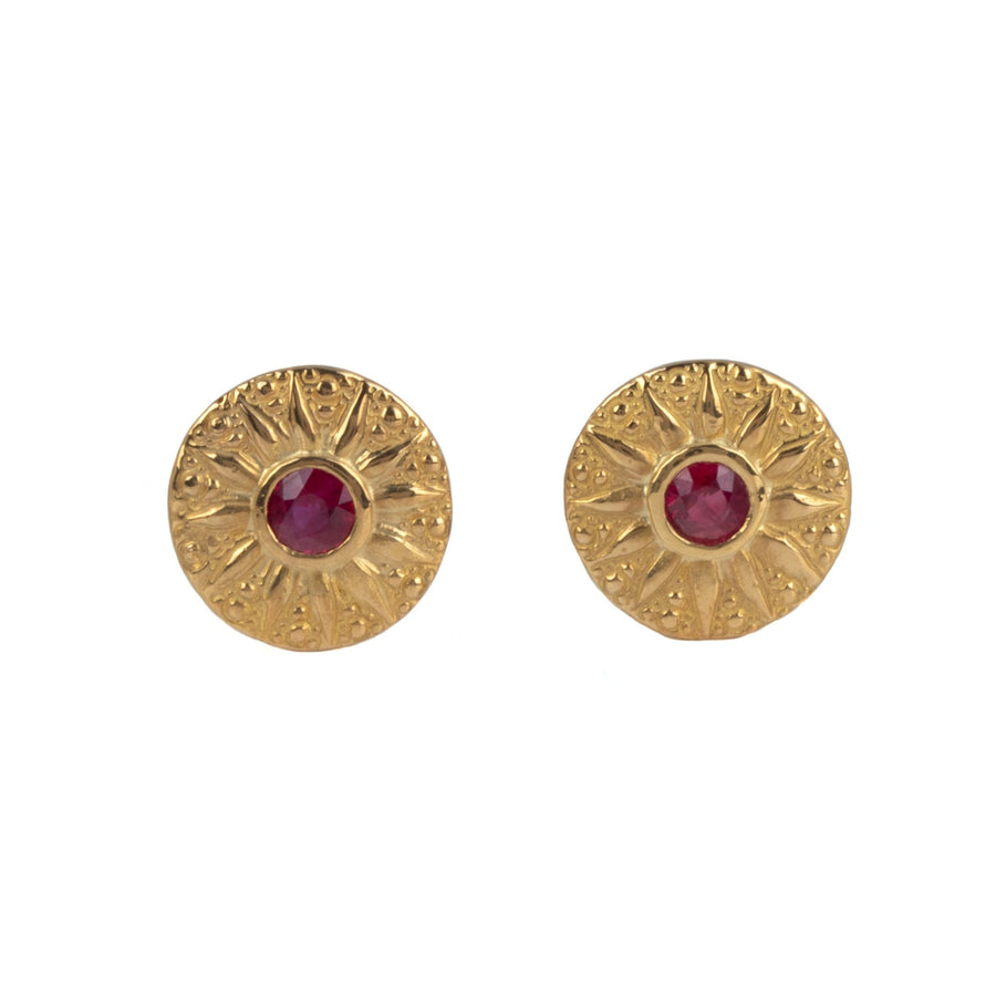 Sunburst Earrings in 22K Gold with Rubies