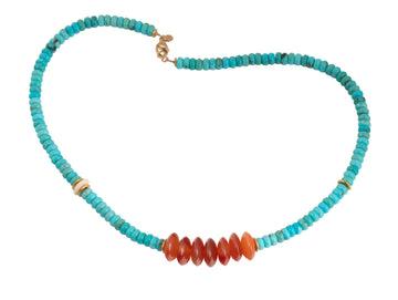 Turquoise, Carnelian and Woolly Mammoth Tusk Beaded Necklace