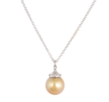 Beaded Pendant in Platinum with Golden South Sea Pearl
