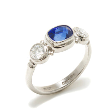 Blue Sapphire & Round Brilliant Diamond Ring in Platinum