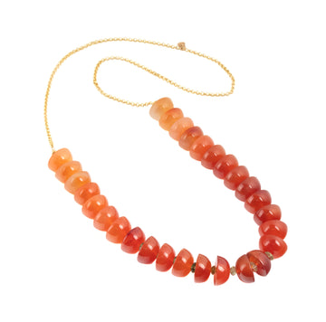 Rain chain Necklace in Carnelian & Tourmaline