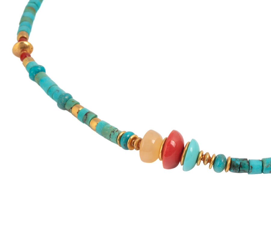 Turquoise, Carnelian, Coral & High Karat Gold Beaded Necklace