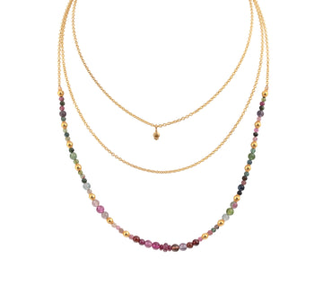 Tourmaline & Ruby Bead Triple Layer Necklace with a Yellow Diamond Pendant