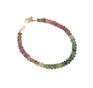 Tourmaline & High Karat Gold Bead Beaded Bracelet