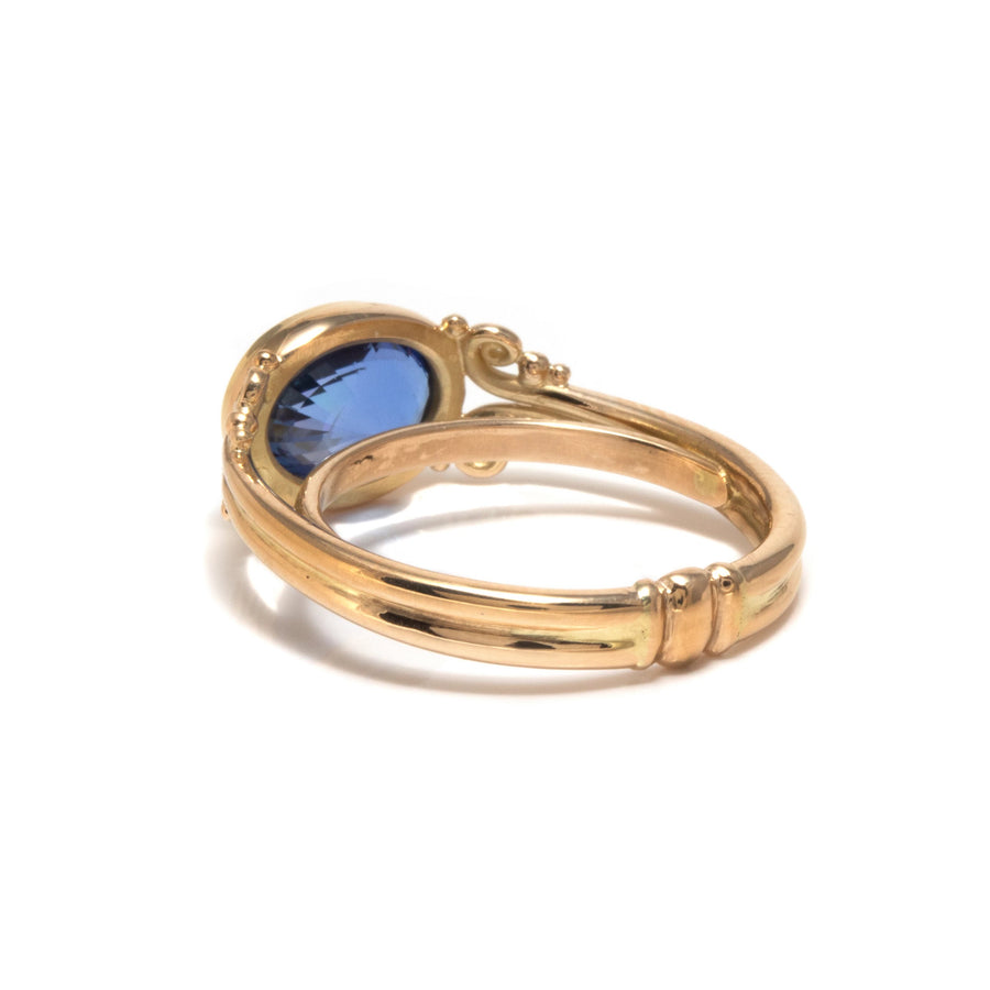 Curl Motif Lunette Style Blue Sapphire Ring