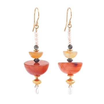 Rain chain Carnelian & Freshwater Pearl Earrings