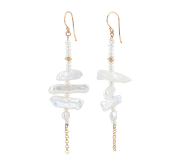 Baroque Freshwater Pearl Earrings with Chain
