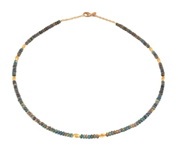Opal & High Karat Gold Beaded Necklace