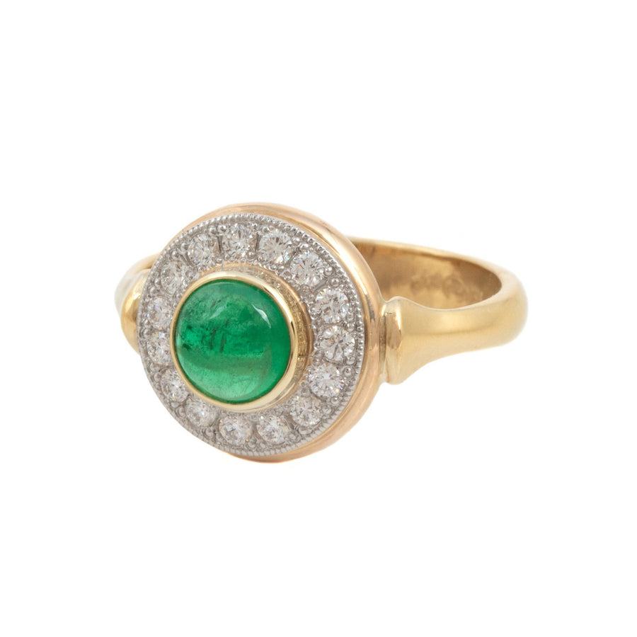 Cabochon Cut Emerald Ring with Diamond Surround