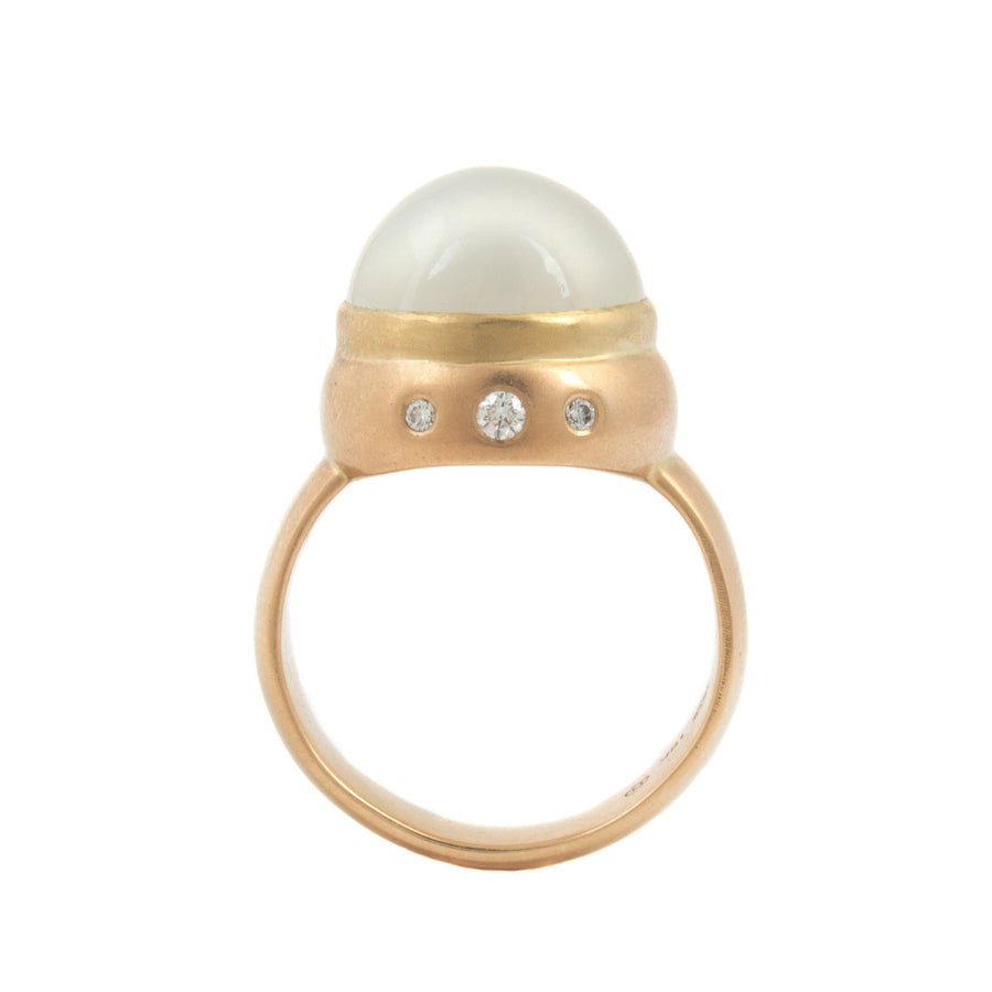 Cat's Eye Moonstone Ring with Diamonds