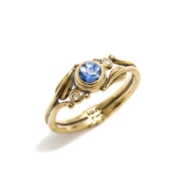 Leaf Motif Ring with Sapphire & Diamonds
