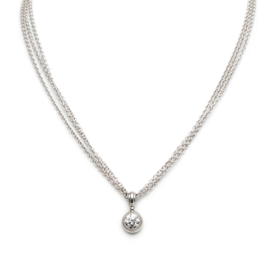 Round Brilliant Diamond Pendant on a Triple Chain