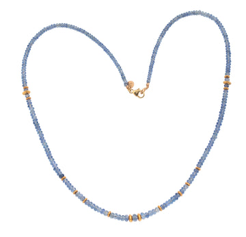 Faded Denim Sapphire & High Karat Gold Bead Necklace