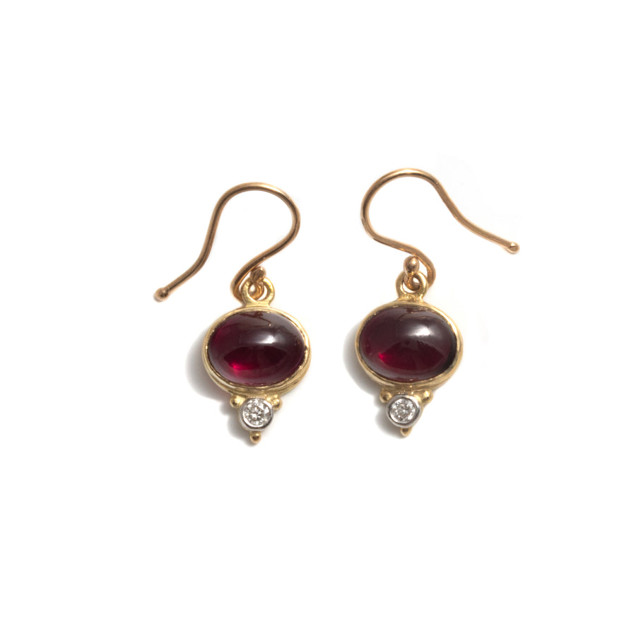 Garnet & Diamond Earrings