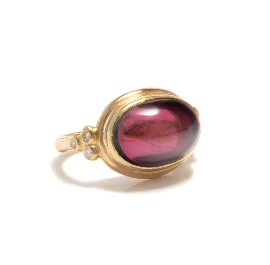 Garnet Ring with Diamonds