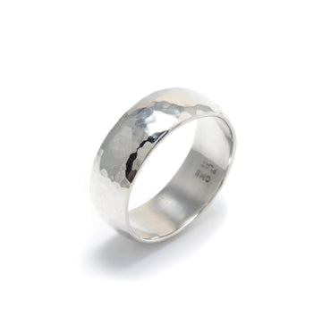 Low Dome Hammered Platinum Band