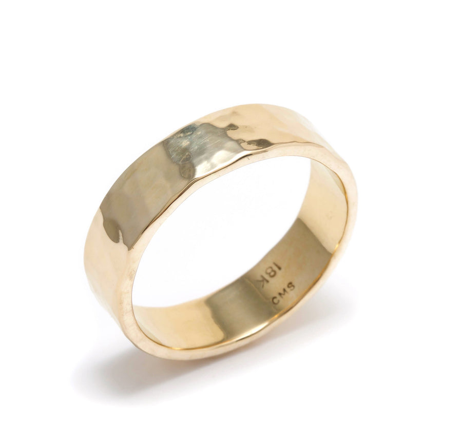 Hammered 18K Gold Band
