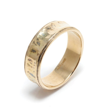 Wedding Ring with Concave Center & Millegrained Edges