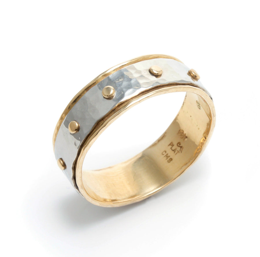 Platinum & Gold Rivet Wedding Band