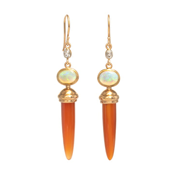 Opal, Carnelian, and Old Mine Cut Diamond Earrings