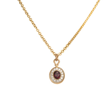 Ruby Pendant with Surrounding Diamonds