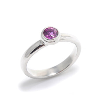 Platinum Stacking Ring with Pink Sapphire