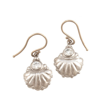 Shell Motif Earrings with Diamonds