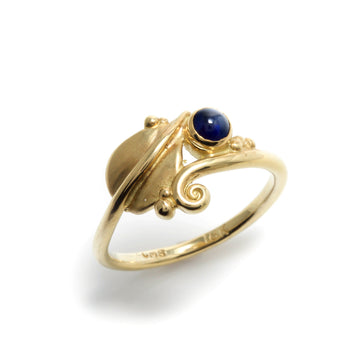 Blue Sapphire Leaf Style Ring
