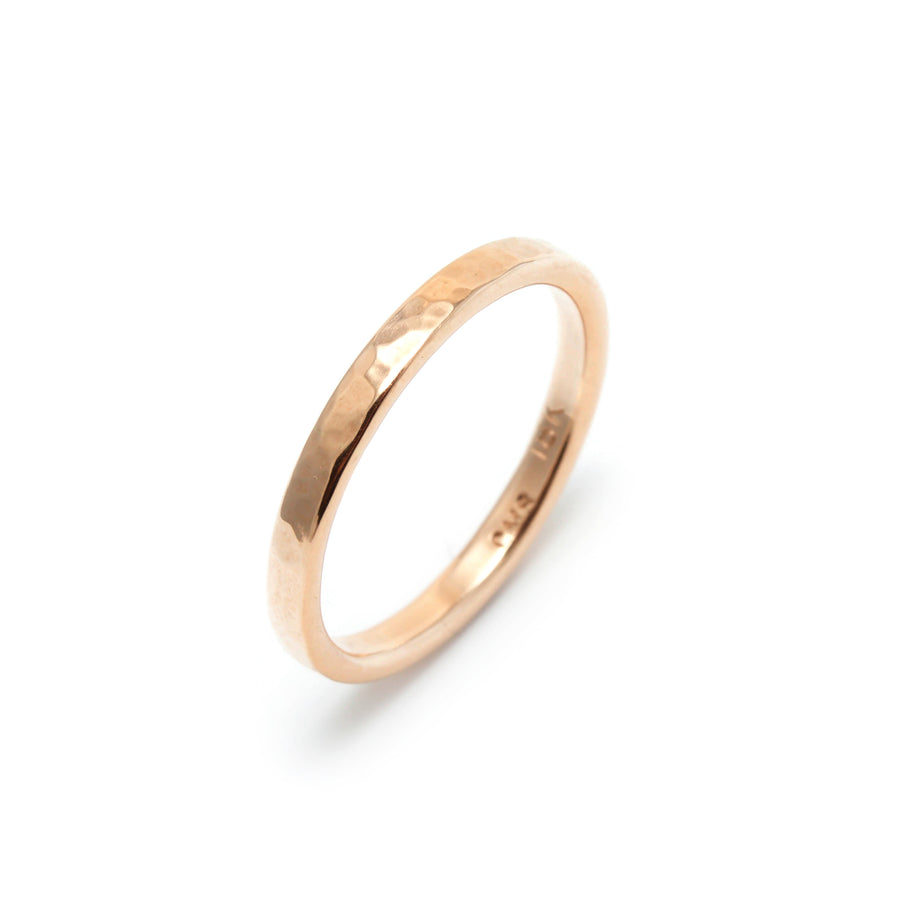 Peened Wedding Ring in 18K Rose Gold