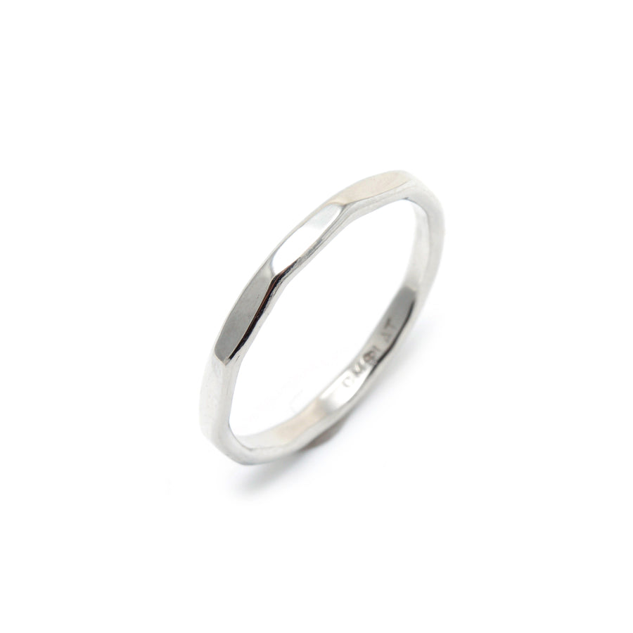 Faceted Platinum Wedding Band
