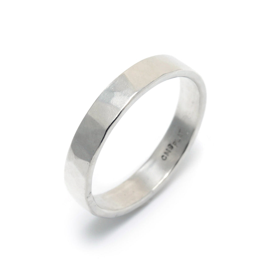 Matte Finish Hammered Wedding Ring in Platinum