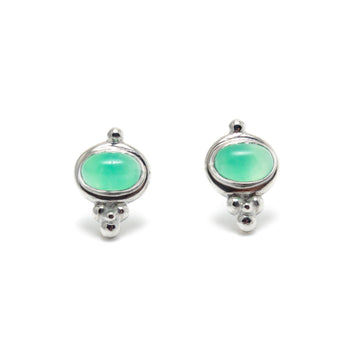 Delicate Stud earrings with Chrysoprase