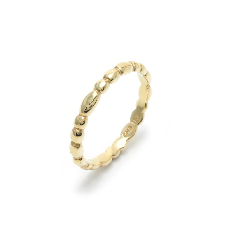 Skinny Random Pebble Stacking Ring in 18K Gold