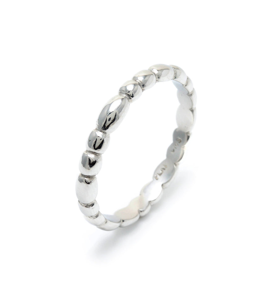 Skinny Random Pebble Stacking Ring