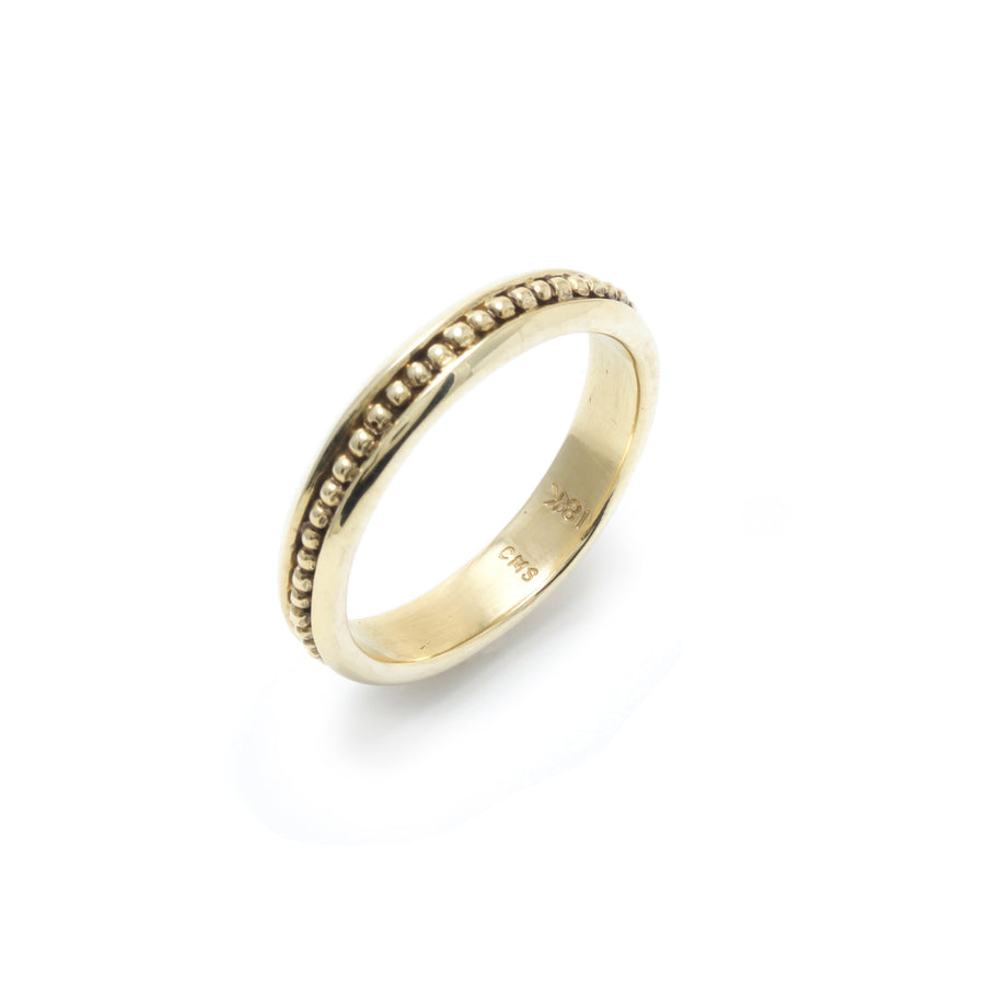 Beaded Wedding Band in 18K Yellow Gold