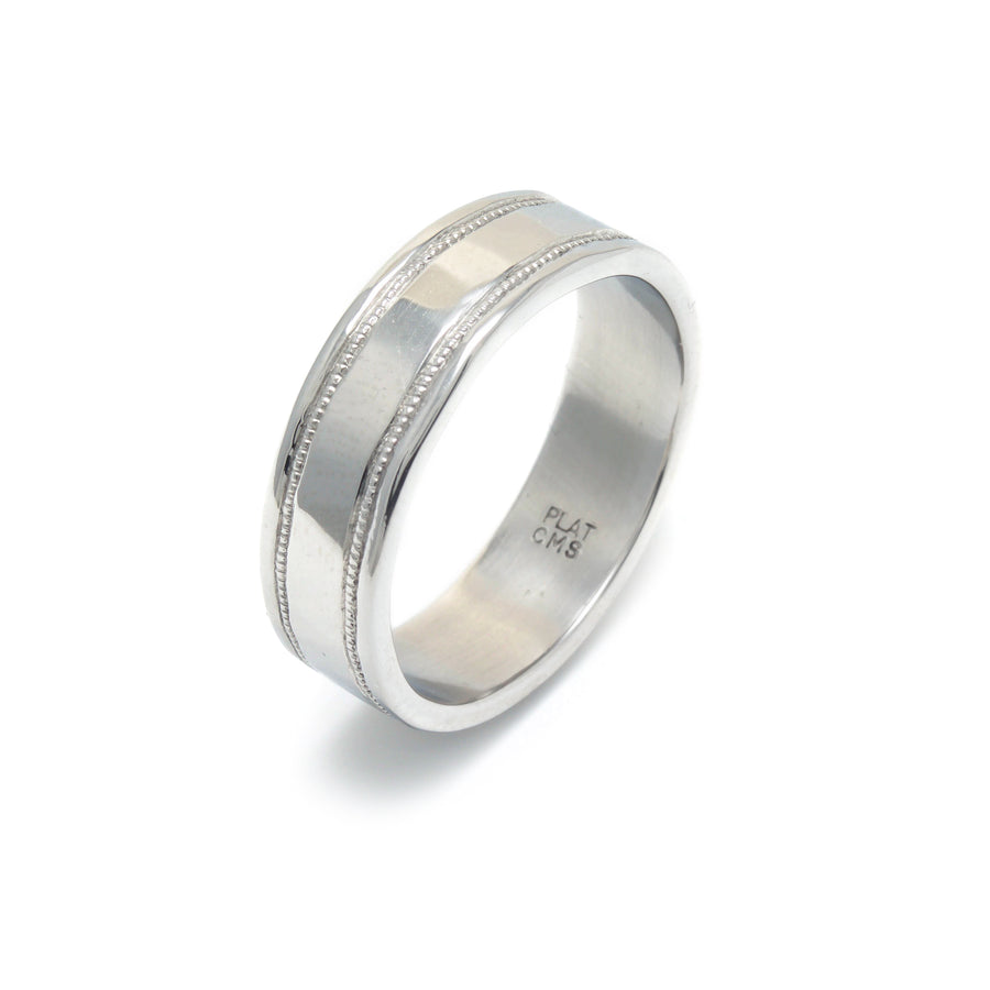 Platinum Millegrain Wedding Band