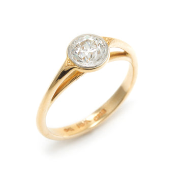 Lunette Style Platform Engagement Ring