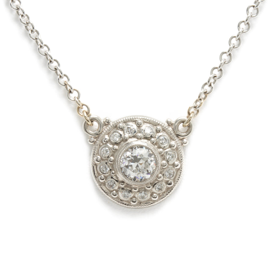 Shield Shaped European Cut Diamond  Double Hung Pendant