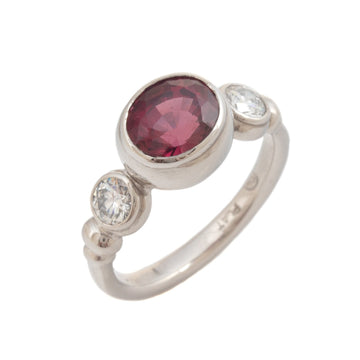 Garnet & Diamond Ring in Platinum