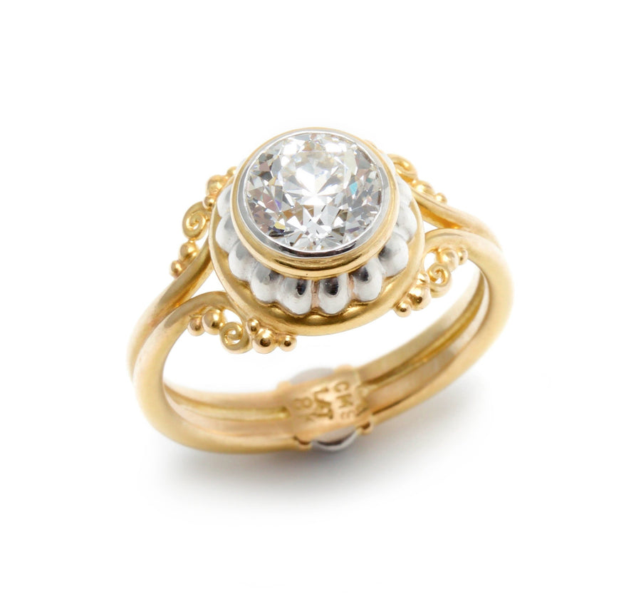European Cut Diamond Ring in Platinum & 18K Gold