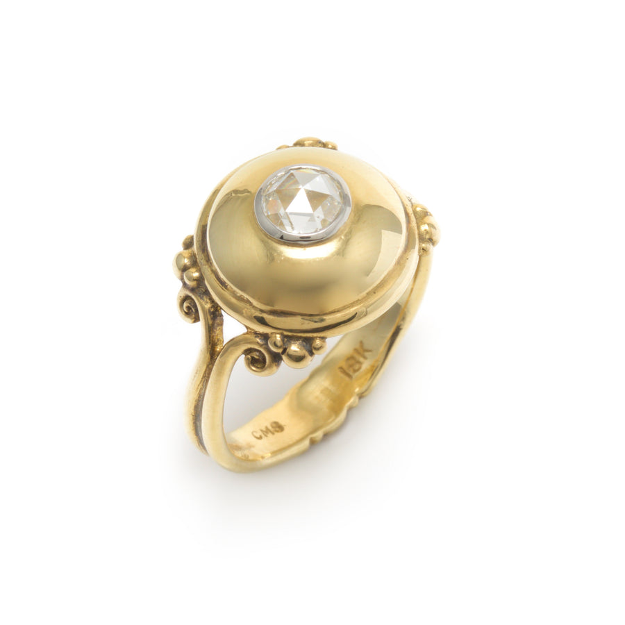 Large Dome Ring in 18K Yellow Gold with a Rose Cut Diamond