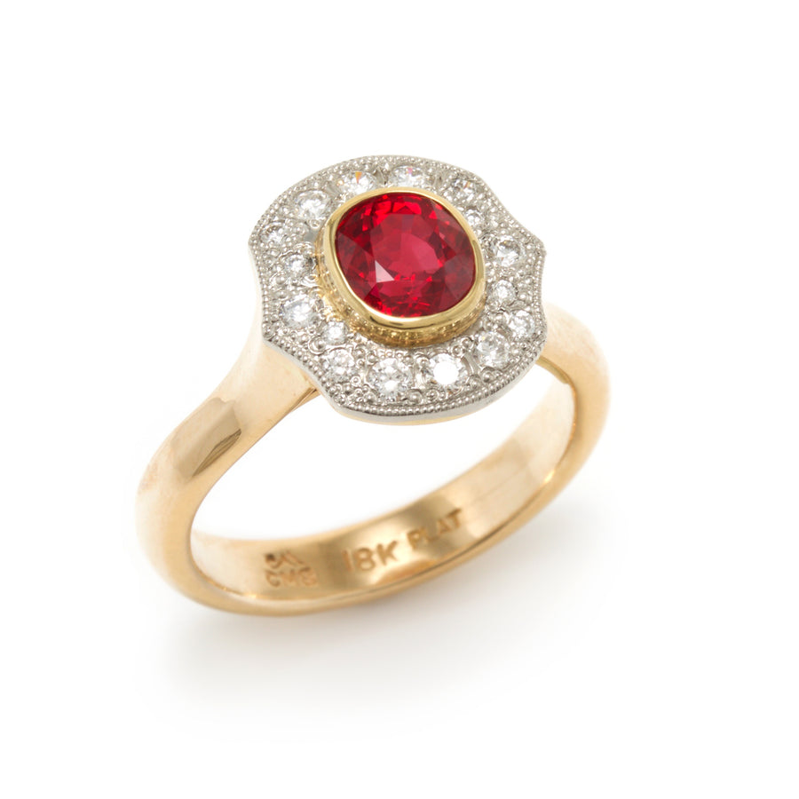 Ruby Ring with Diamond Halo