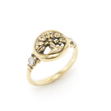 Tree of Life Ring with Diamonds