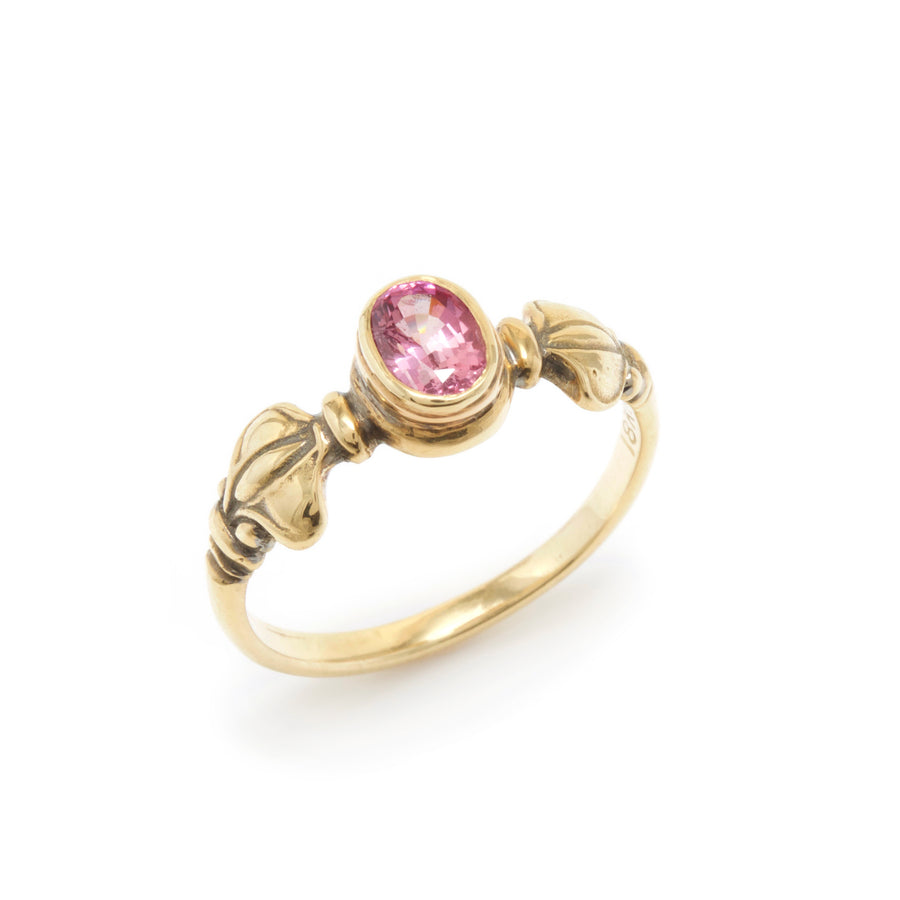 Lotus Bud Motif Ring with a Pink Sapphire