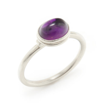 Amethyst & Platinum Stackable Ring