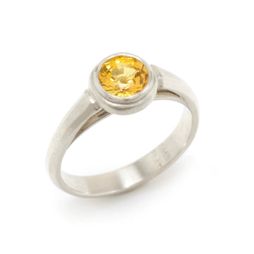 Golden Sapphire and Platinum Platform Ring
