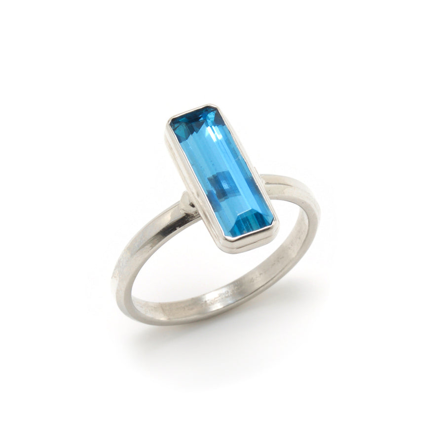 Step Cut Aquamarine Stackable Ring