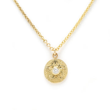 Carved Petal Pendant with Round Brilliant Diamond