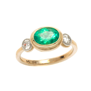 Emerald Ring with European Cut Diamonds